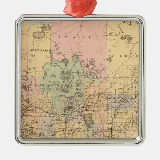 Map of the State of Minnesota, 1874 Metal Ornament