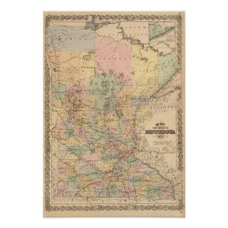 Map of the State of Minnesota, 1874 Print