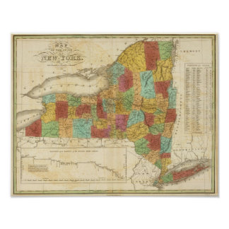 Map Of The State Of New York Poster