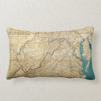 Map of the State of Virginia (1862) Lumbar Pillow