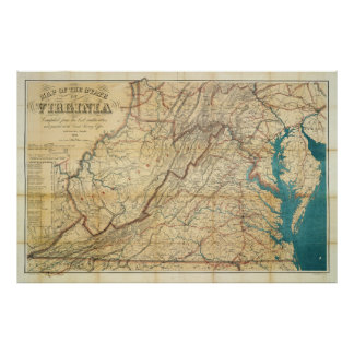 Map of the State of Virginia (1862) Poster