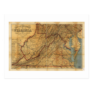 Map of the State of Virginia (1863) Postcard