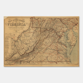 Map of the State of Virginia (1865) Lawn Sign