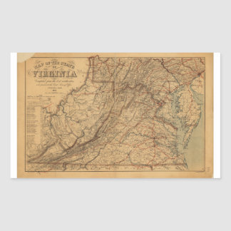 Map of the State of Virginia (1865) Rectangular Sticker