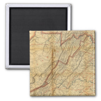 Map of the state of Virginia 2 Inch Square Magnet