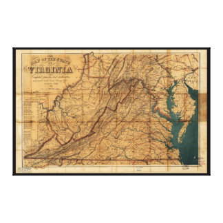 Map of the State of Virginia by Nicholson (1862) Canvas Print