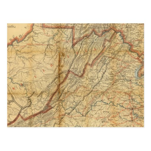 Map of the state of Virginia Postcard
