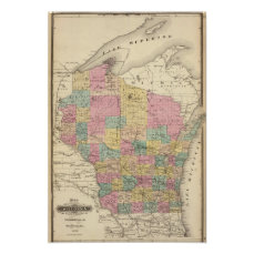 Map of the State of Wisconsin Poster