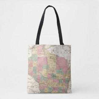 Map of the State of Wisconsin Tote Bag