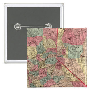 Map of the States of California and Nevada Pinback Button
