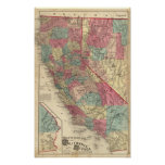 Map of the States of California and Nevada Poster