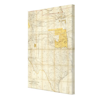 Map Of The States Of Kansas And Texas Canvas Print