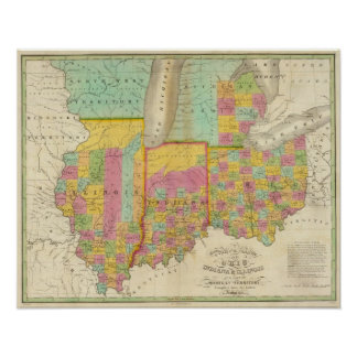 Map of the States Of Ohio Indiana & Illinois Poster