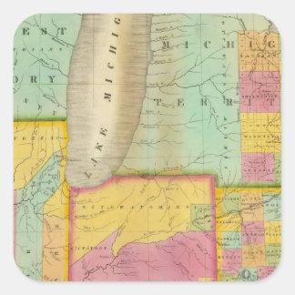 Map of the States Of Ohio Indiana & Illinois Square Sticker