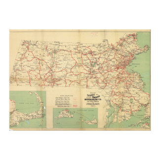 Map of the Street Railways of Massachusetts 1913 Canvas Print