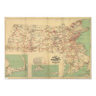 Map of the Street Railways of Massachusetts 1913 Card