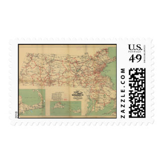 Map of the Street Railways of Massachusetts 1913 Postage