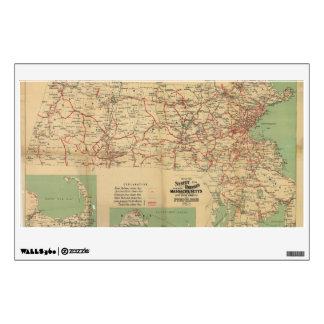 Map of the Street Railways of Massachusetts 1913 Wall Decal
