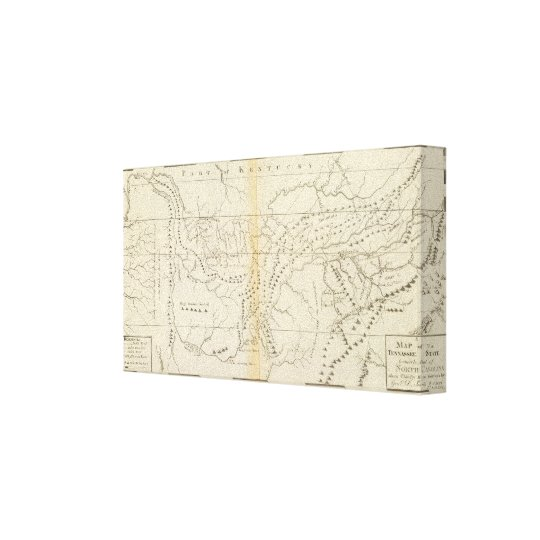 Map of The Tennessee Canvas Print