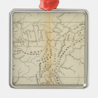 Map of The Tennessee Square Metal Christmas Ornament