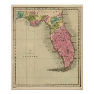 Map of the Territory of Florida 1842 Poster