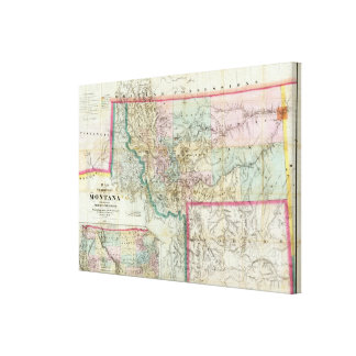 Map Of The Territory Of Montana Canvas Print