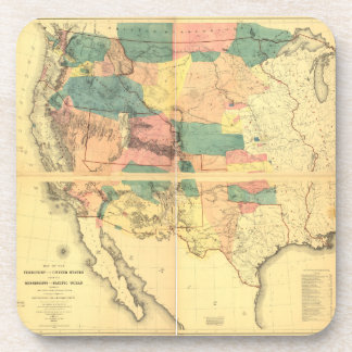 Map of the Territory of the United States (1858) Beverage Coaster