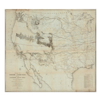 Map Of The Territory Of The United States Print