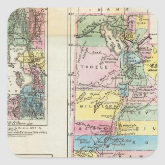 Map of the Territory of Utah Square Stickers