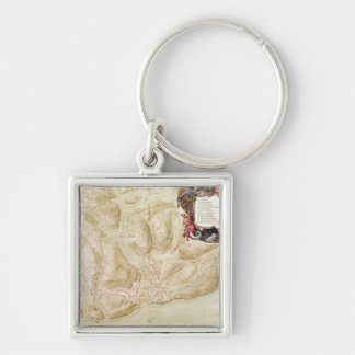 Map of the town and citadel of Bellisle Silver-Colored Square Keychain