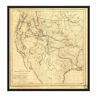 Map of the Trans-Mississippi Between 1807 and 1843 Canvas Print