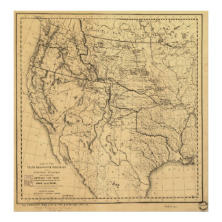 Map of the Trans-Mississippi Between 1807 and 1843 Poster