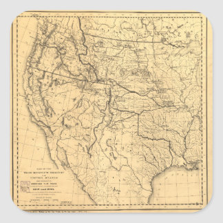Map of the Trans-Mississippi Between 1807 and 1843 Square Sticker
