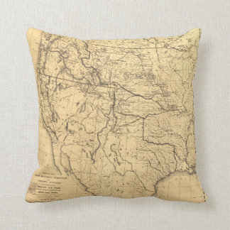 Map of the Trans-Mississippi Between 1807 and 1843 Throw Pillow