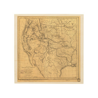 Map of the Trans-Mississippi Between 1807 and 1843 Wood Wall Decor