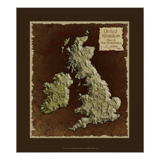 MAP of the UK Map Art Poster