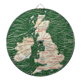 Map of the United Kingdom Vintage green Poster Dartboard With Darts