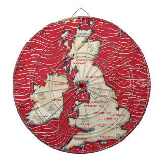 Map of the United Kingdom Vintage red Poster Dart Board