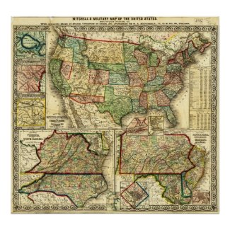Map of the United States 1861 S. Augustus Mitchell Posters