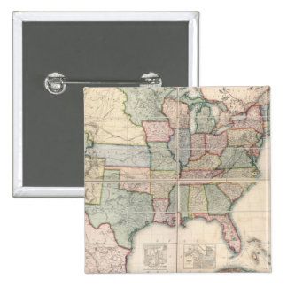 Map of The United States 3 Pinback Buttons
