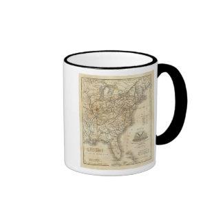 Map Of The United States 3 Ringer Mug