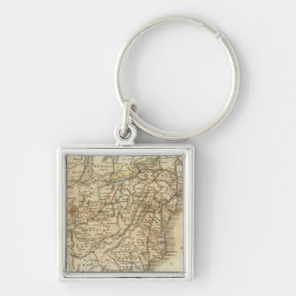 Map Of The United States 3 Silver-Colored Square Keychain