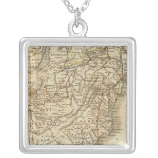 Map Of The United States 3 Square Pendant Necklace