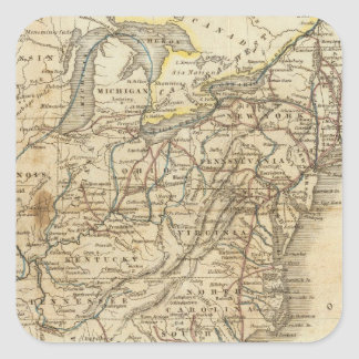 Map Of The United States 3 Square Sticker