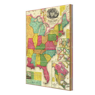 Map of the United States 3 Stretched Canvas Print
