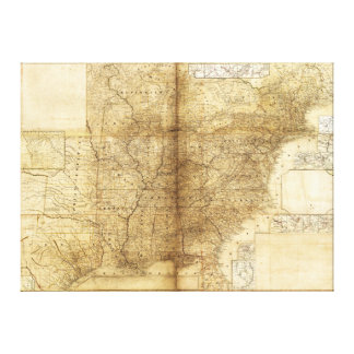 Map of the United States and Canada (1847) Canvas Print