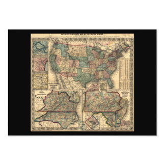 Map of the United States and Territories (1861) Card