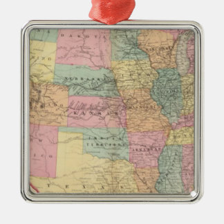 Map of the United States and Territories Square Metal Christmas Ornament
