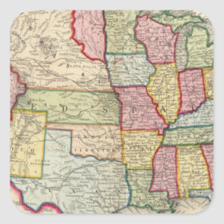 Map Of The United States, And Territories Square Stickers