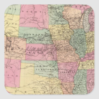 Map of the United States and territories Square Stickers